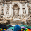 Fontana di Trevi - the famous Trevi fountain in Rome, Italy - Stock Photo