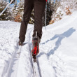 Cross-country skiing: young man cross-country skiing on a lovely — Stock Photo