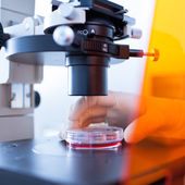 Modern microscope in a lab — Stock Photo