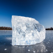 Freezing winter temperatures: block of ice lying on the surface — Stock Photo #17128381