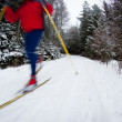 Young man cross-country skiing on a snowy forest trail (motion b - 图库照片