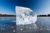 Freezing winter temperatures: block of ice lying on the surface — Stock Photo
