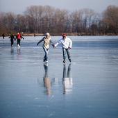 Pár bruslení venku na rybníku na krásný slunný zimní den — Stock fotografie