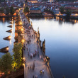 View of Vltava river with Charles bridge in Prague, Czech republic - Foto de Stock