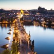 View of Vltava river with Charles bridge in Prague, Czech republic - Stock Photo