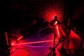 Lasers in a quantum optics lab — Stock Photo