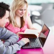 Stock Photo: Two college students having fun studying together, using a lapto