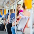 Stock Photo: Pretty, young womon streetcar, tramway