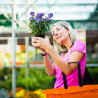 Young woman buying flowers at a garden center — Stock Photo