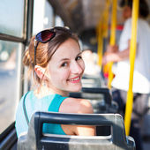Pretty, young woman on a streetcar, tramway — Stock Photo