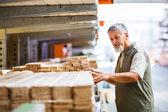 человек, покупка строительной древесины в хранилище diy — Стоковое фото
