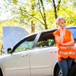 Young female driver wearing high visibility vest, calling — Stock Photo #20389721