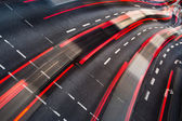 Motion blurred city road traffic (color toned image) — Stock Photo