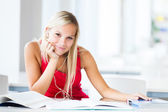 In the library - pretty female student with books working in a h — Foto de Stock