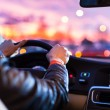 Stock Photo: Driving car at night -mdriving his modern car at night
