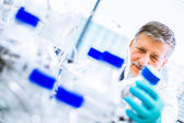 Senior male researcher carrying out scientific research in a lab — Foto de Stock