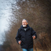 Uomo anziano camminata nordica, godendo dell'aria aperta — Foto Stock