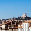 View of Marseille with Notre-Dame de la Garde basilica — Stock Photo
