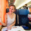 Young woman traveling by train — Stock Photo