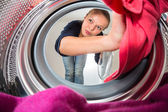 Woman doing laundry — 图库照片