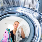 Woman doing laundry — Foto de Stock