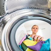 Woman doing laundry — Stok fotoğraf