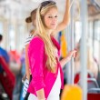 Woman at a streetcar,tramway — Stock Photo