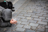 Begger on the street — Stock Photo