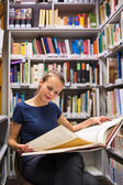 Woman studying an old book — Stock Photo