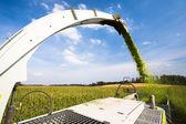Modern combine harvester unloading — Stock Photo