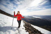 Female hiker going uphill — Stock Photo