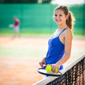 Young tennis player  on  a court — Foto Stock