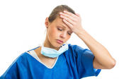 Female doctor,surgeon feeling down — Stock Photo