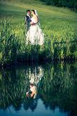 Young wedding couple on wedding day — Stock Photo