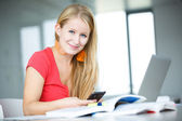 Female student with books and laptop — Stockfoto