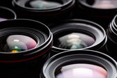Modern camera lenses with reflections — Stock Photo