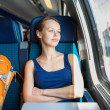 Woman traveling by train — Stock Photo #49687111