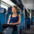 Woman traveling by train — Stock Photo #49687129