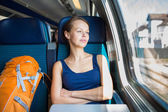 Woman traveling by train — Stock Photo