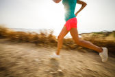 Woman on her evening jog — Stock Photo