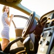 Female teen driver, by her new car — Stock Photo