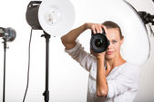 Photographer with digital camera - DSLR — Stock Photo