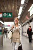 Woman taking the metro, subway — Stock Photo