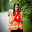 Young female driver after her car has broken down — Stock Photo #8520795