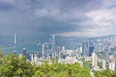Hong Kong office buildings at storm — Stok fotoğraf