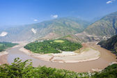 Red river curve shape in Yunnan, China. — Stock Photo