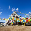 Colorful prayer flags and snow mountain - Stock Photo