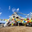 Colorful prayer flags and snow mountain — Stock Photo