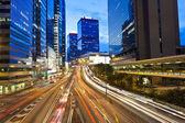 Busy traffic in Hong Kong at night — Stock Photo