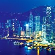 Hong Kong at night on Christmas - Stock Photo